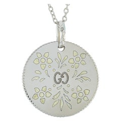 Gucci Icon Blooms 18 Karat White Gold and White Enamel Necklace