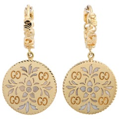 Gucci Icon Blooms 18 Karat Yellow Gold and Enamel Earrings