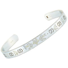 Gucci Icon Blossom 18 Karat White Gold and White Enamel Bracelet