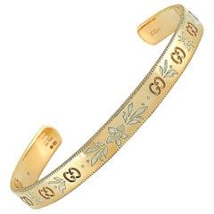 Gucci Icon Blossom 18 Karat Yellow Gold and White Enamel Bracelet