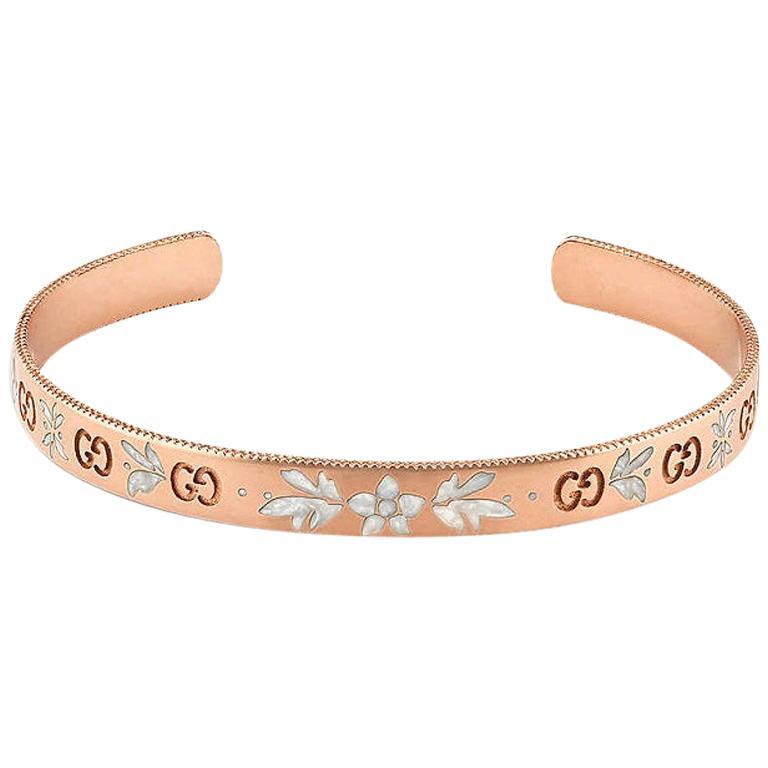 Gucci Icon Blossom Rose Gold Cuff Bangle YBA434528002017
