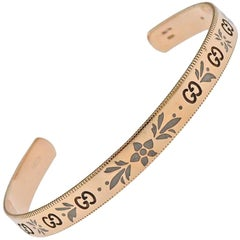 Gucci Icon Blossom Rose Gold Enamel Cuff Bracelet