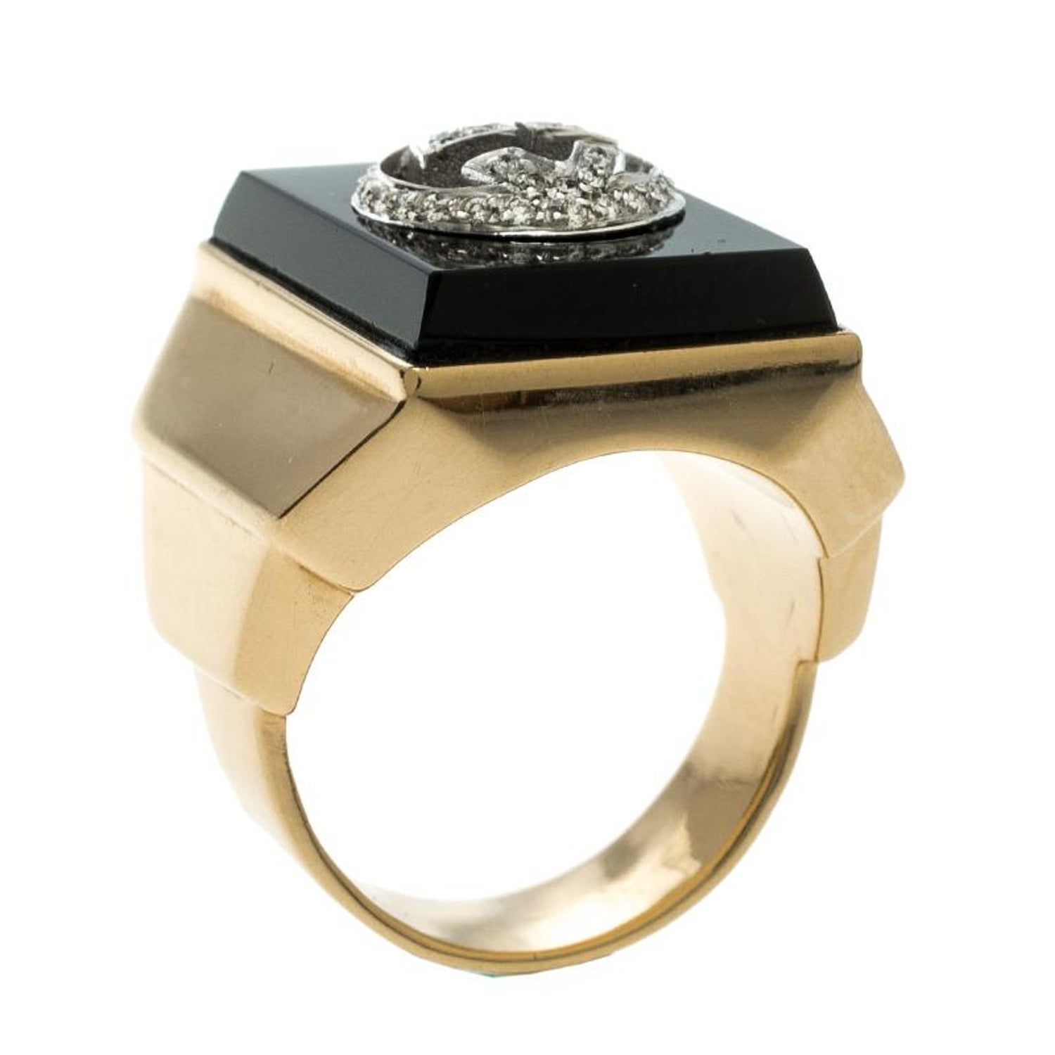9b46a6966 Gucci Icon Boule Onyx and Diamond 18k Yellow Gold Ring Size 58 For Sale at  1stdibs