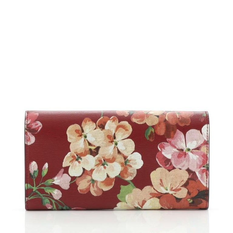 Brown Gucci Icon Continental Wallet Blooms Print Leather