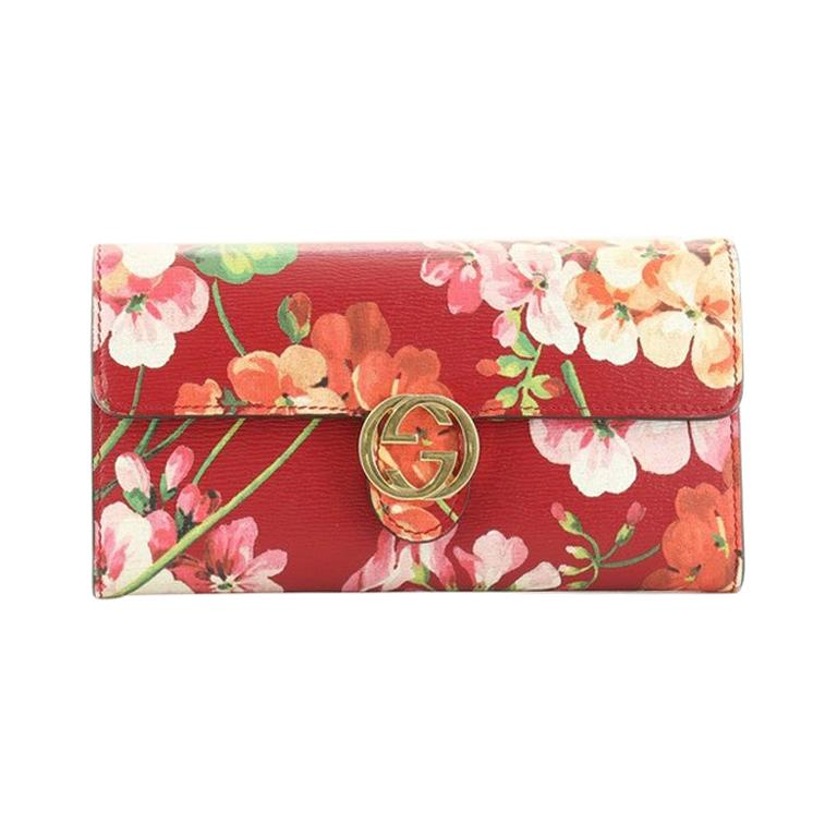 Gucci Icon Continental Wallet Blooms Print Leather For Sale