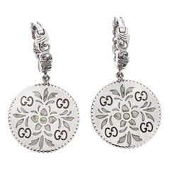 Gucci Icon Floral Motif 18K White Gold Drop Earrings