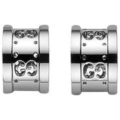 Gucci Icon Stud Earrings with Interlocking G in 18 Karat White Gold YBD223729003