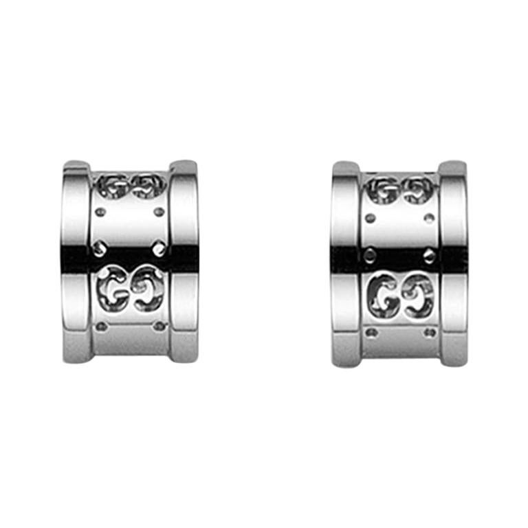 Gucci Icon Stud Earrings with Interlocking G in 18 Karat White Gold YBD223729003 For Sale