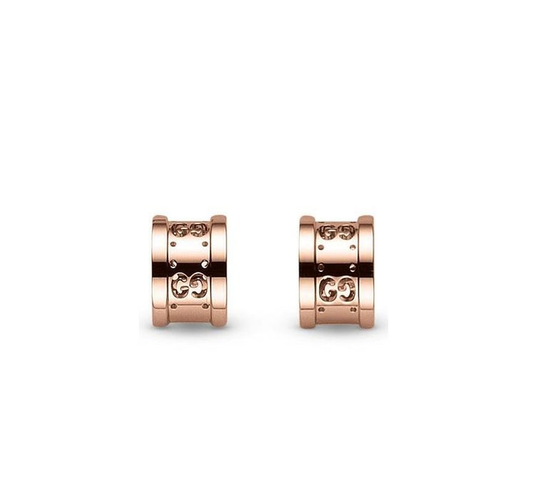 Women's Gucci Icon Twirl Earrings in 18 Karat Rose Gold, YBD223729001 For Sale