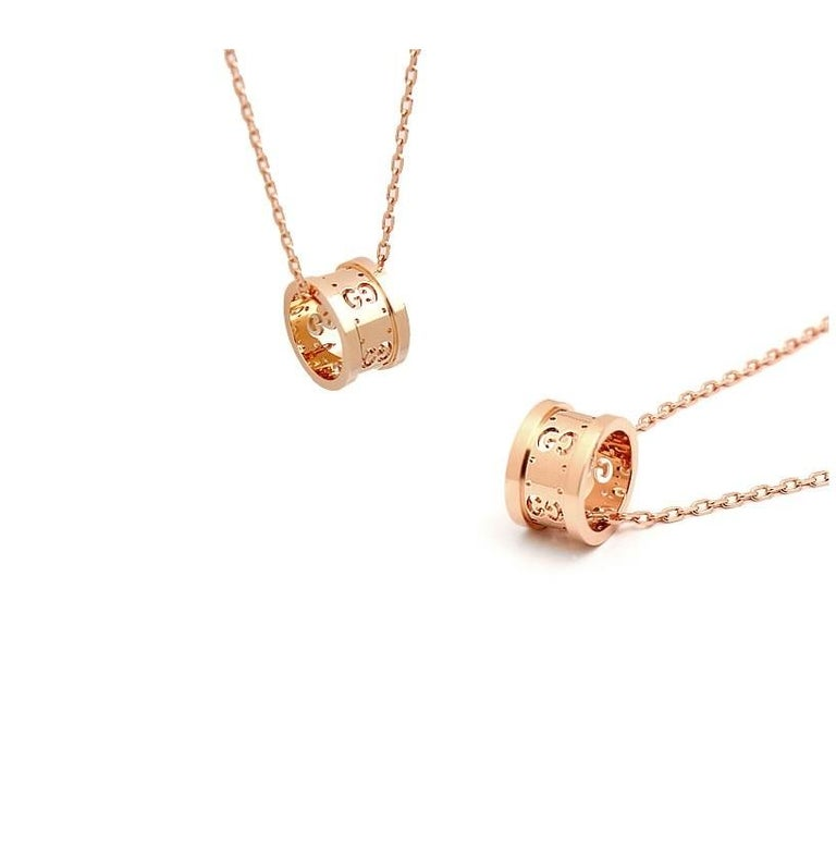 Gucci Icon Twirl Necklace in 18 Karat Pink Gold, YBB214169001 In New Condition For Sale In Wilmington, DE