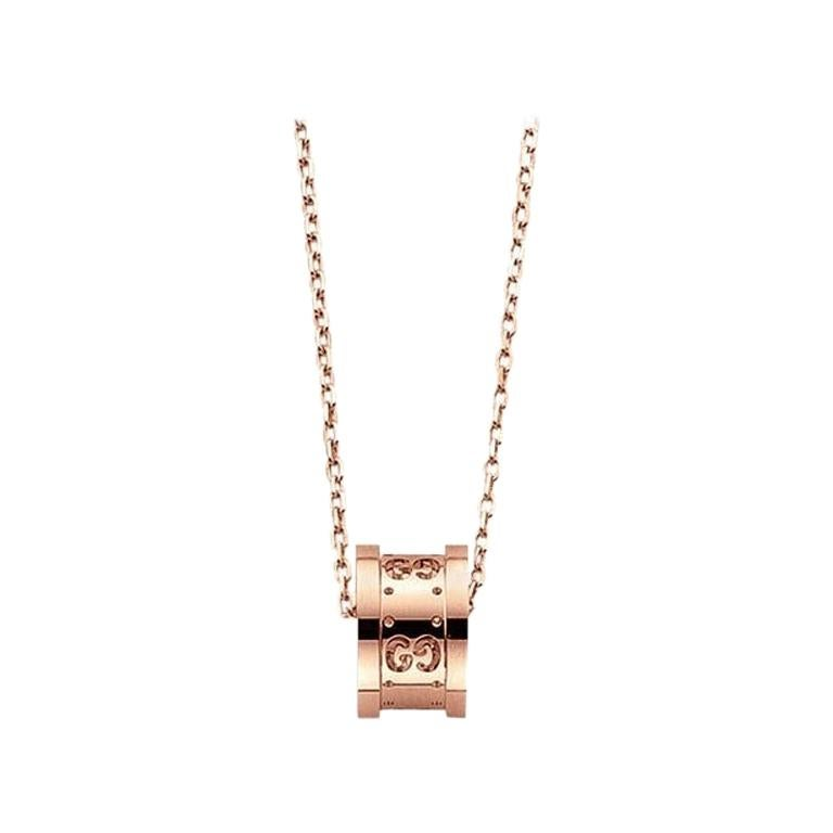 Gucci Icon Twirl Necklace in 18 Karat Pink Gold, YBB214169001 For Sale