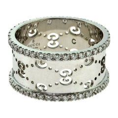 Gucci Icon White Gold with Two Rows of Diamonds Eternity Band Ring