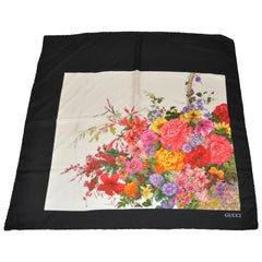 """Gucci Iconic Signature Multi Color """"Spring Florals"""" With Black Silk Scarf"""