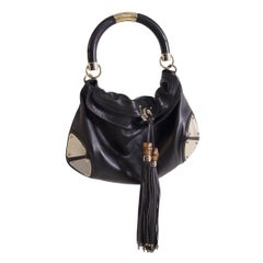 Gucci Indy Babouska Leather Bag in Gold Metal Black with fringes, 2000