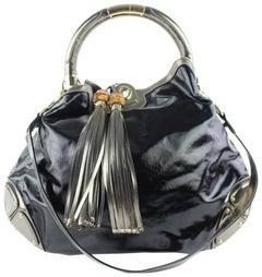 Gucci Indy Hobo Babouska 2way 9gz0918 Black Patent Leather Messenger Bag