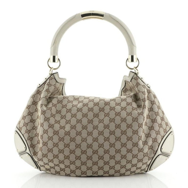 Gray Gucci Indy Hobo GG Canvas Large For Sale