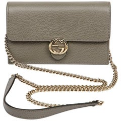 Gucci Interlock Wallet On Chain with Grey Leather