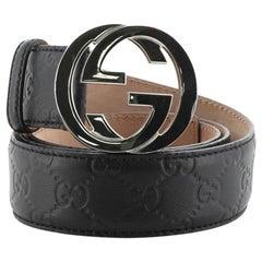 Gucci Interlocking G Belt Guccissima Leather Wide