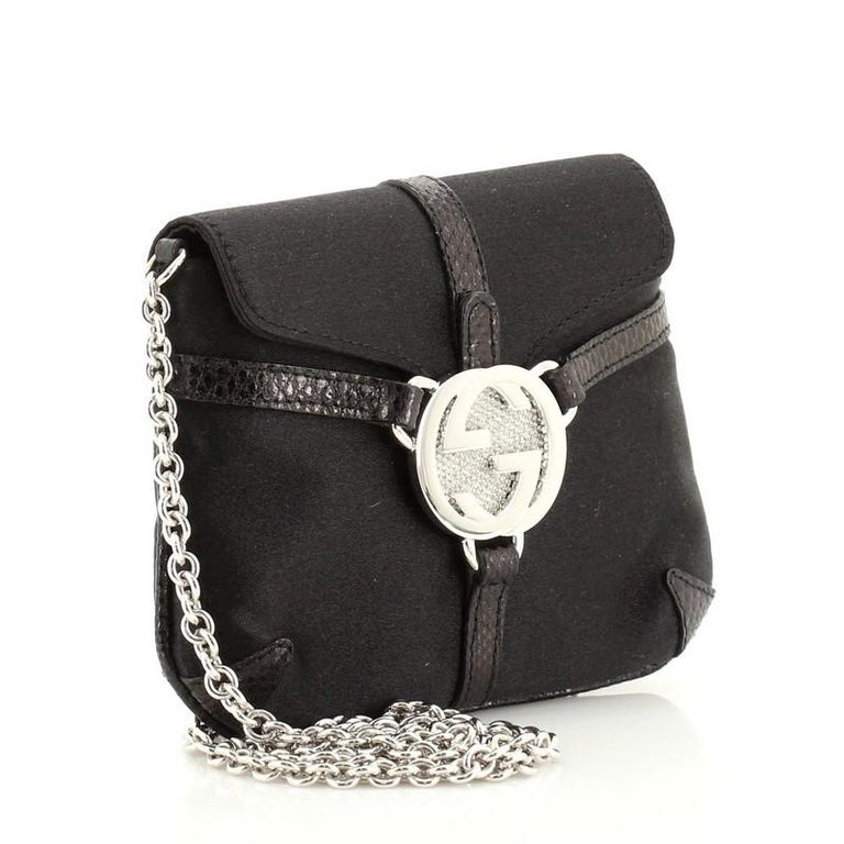 Black Gucci Interlocking G Chain Crossbody Bag Satin with Python Embossed Leather Mini For Sale
