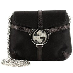 Gucci Interlocking G Chain Crossbody Bag Satin with Python Embossed Leather Mini