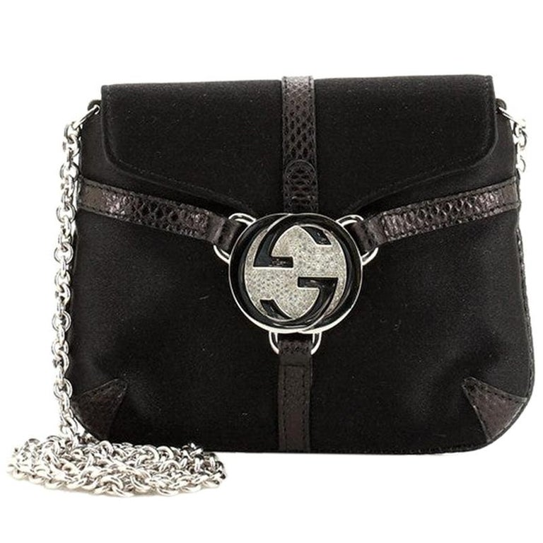 Gucci Interlocking G Chain Crossbody Bag Satin with Python Embossed Leather Mini For Sale