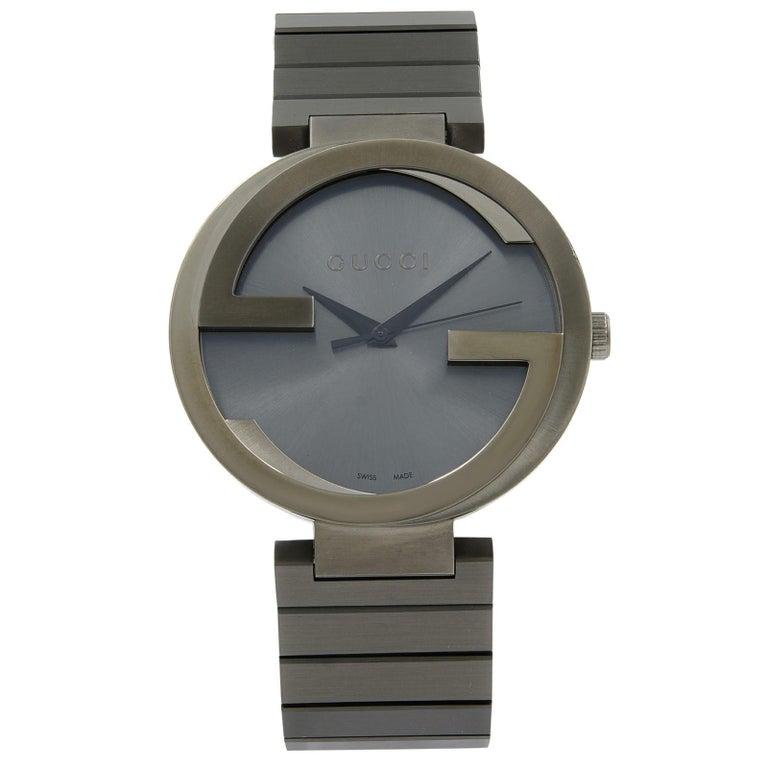a56bfecdf5c Gucci Interlocking G Grey PVD Steel Anthracite Dial Quartz Men s Watch  YA133210 For Sale
