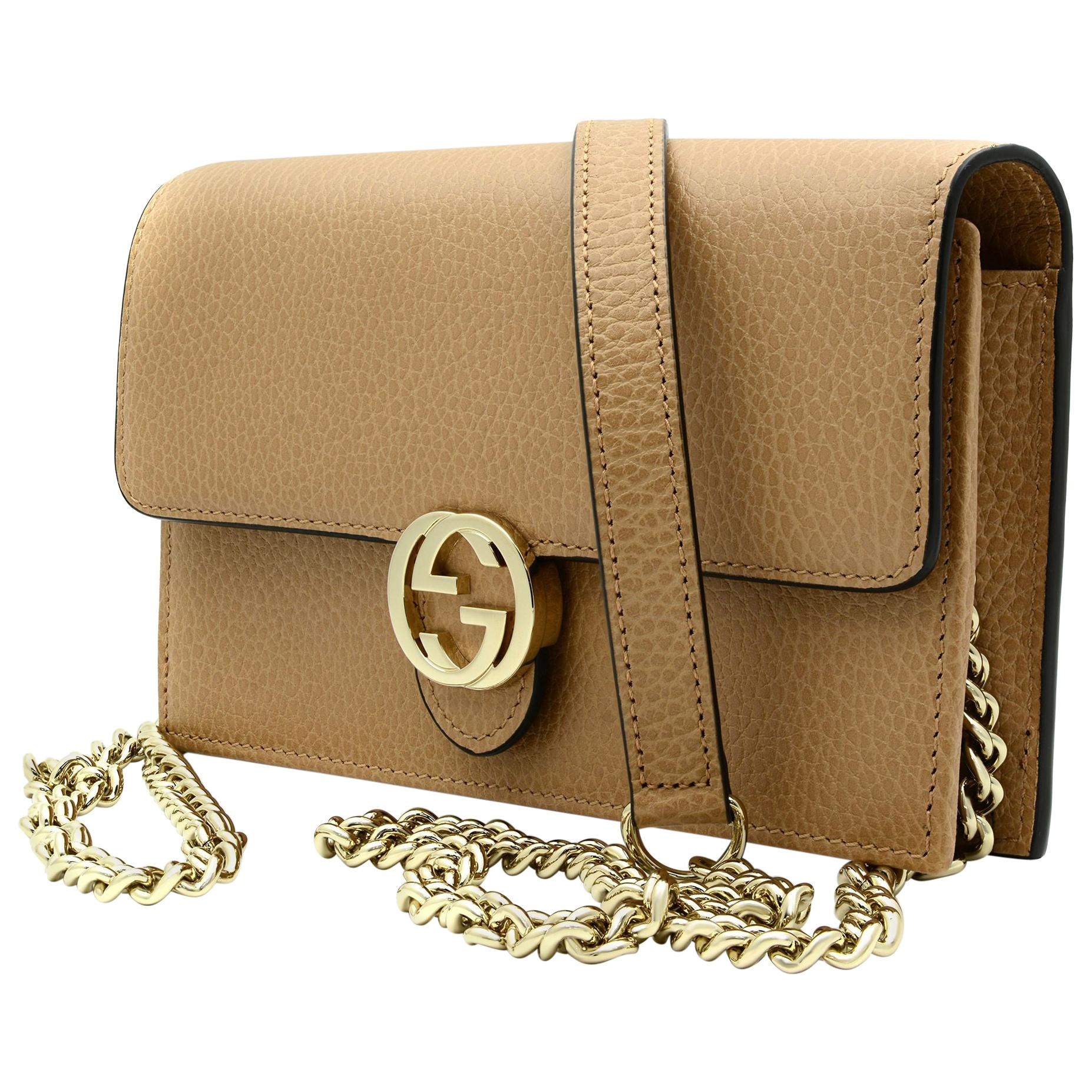 Gucci Interlocking GG Beige Leather Women's Crossbody Chain Wallet