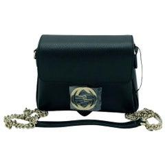 Gucci Interlocking GG Small Crossbody Bag-Black leather-  New