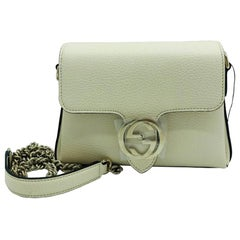 Gucci Interlocking GG Small Crossbody Bag-Cream leather-  New