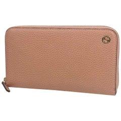 GUCCI InterlockingG round zipper Womens long wallet 449347 pink