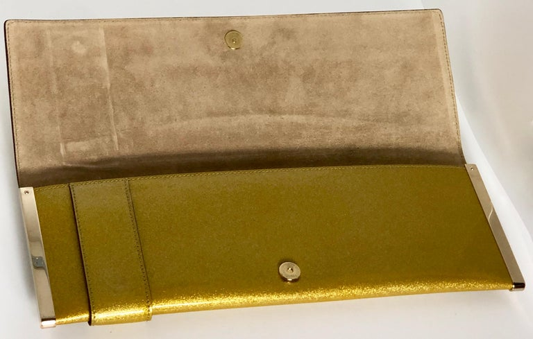 Gucci Iridescent Gold Patent Leather Elongated Clutch with Gold Metal Accents For Sale 9