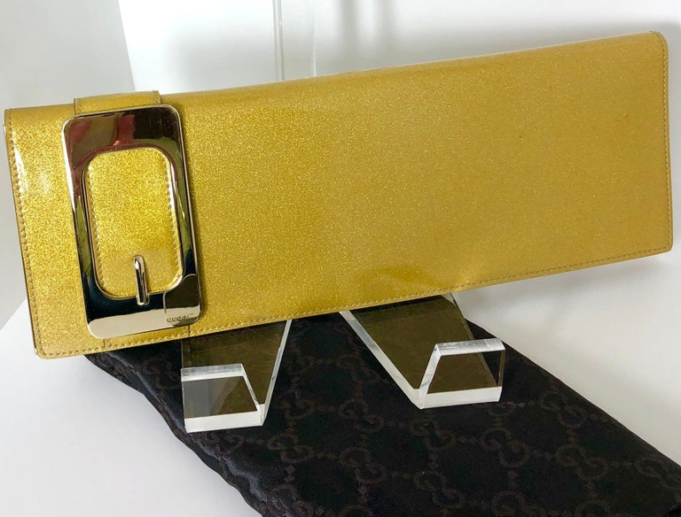 Gucci Iridescent Gold Patent Leather Elongated Clutch with Gold Metal Accents For Sale 15