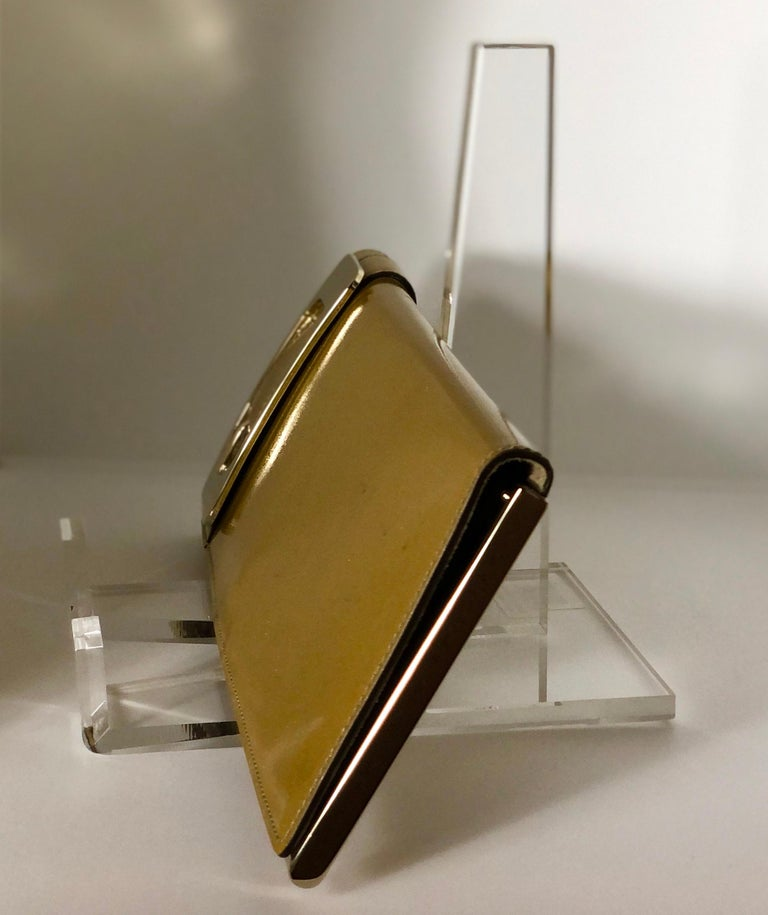 Women's Gucci Iridescent Gold Patent Leather Elongated Clutch with Gold Metal Accents For Sale