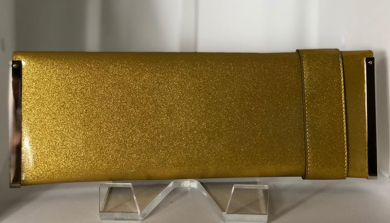 Gucci Iridescent Gold Patent Leather Elongated Clutch with Gold Metal Accents For Sale 1