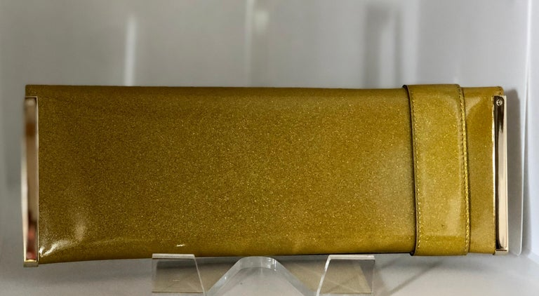 Gucci Iridescent Gold Patent Leather Elongated Clutch with Gold Metal Accents For Sale 2