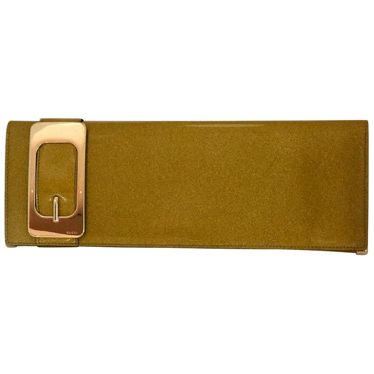 Gucci Iridescent Gold Patent Leather Elongated Clutch with Gold Metal Accents For Sale