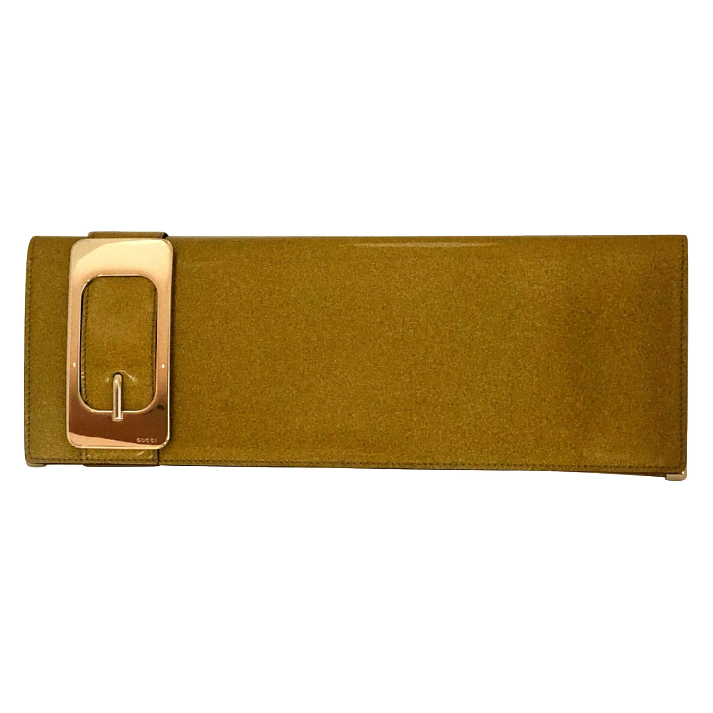 Gucci Iridescent Gold Patent Leather Elongated Clutch with Gold Metal Accents