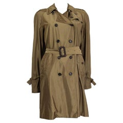 GUCCI iridescent olive green polyester TRENCH Coat Jacket 42 M
