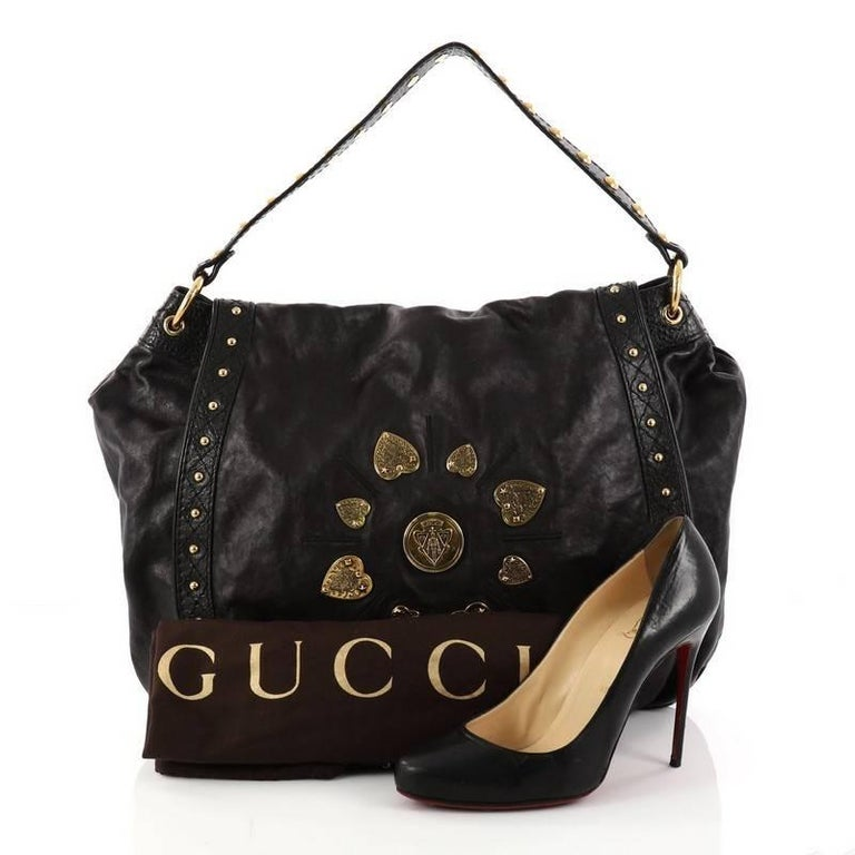 f05cb7cb40b This authentic Gucci Irina Babouska Shoulder Bag Leather is a lovely  addition for any Gucci lover