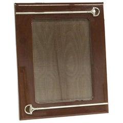 Gucci, Italian Brown Lacquered Picture Frame with Silver Plated Horsebit
