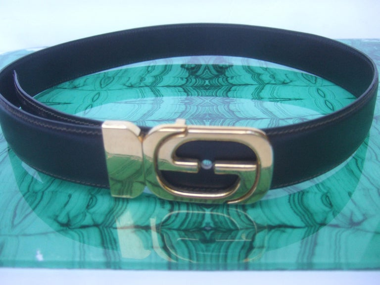 Gucci Italy Black & Brown Reversible Leather Unisex Belt c 1980s For Sale 1