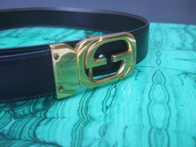 Gucci Italy Black & Brown Reversible Leather Unisex Belt c 1980s For Sale 3