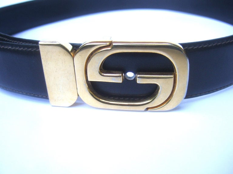 Gucci Italy Black & Brown Reversible Leather Unisex Belt c 1980s For Sale 4
