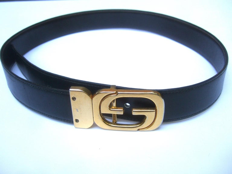 Gucci Italy Black & Brown Reversible Leather Unisex Belt c 1980s For Sale 5