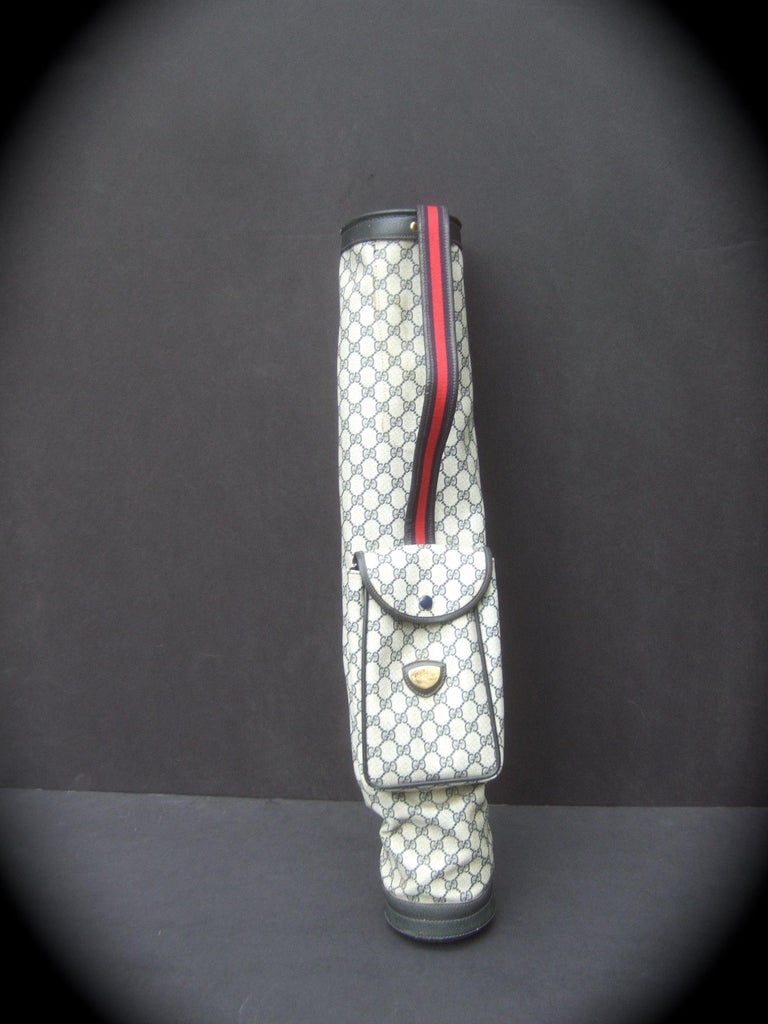 Gucci Italy Extremely Rare Blue G G Monogram Compact Size Golf Bag c 1980s For Sale 2