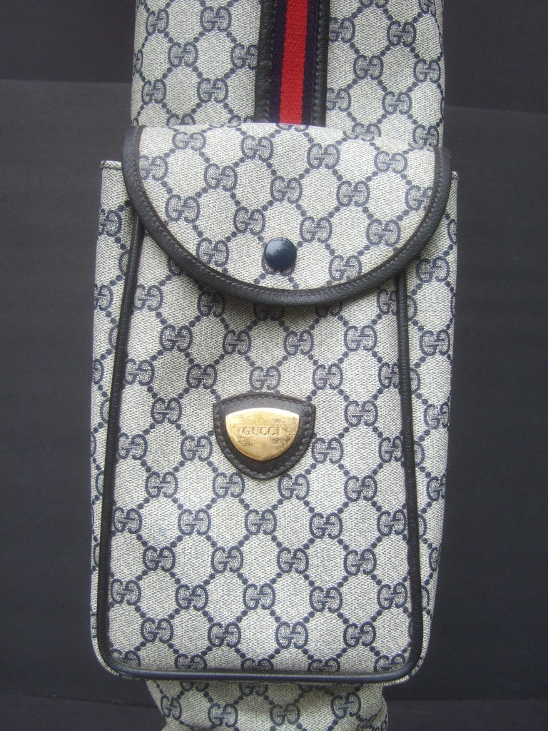 Gucci Italy Extremely Rare Blue G G Monogram Compact Size Golf Bag c 1980s For Sale 4