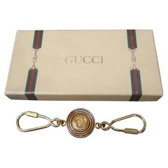 Gucci Italy Gilt Enamel Keychain in Original Gucci Presentation Box c 1980