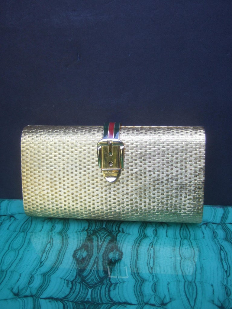 Gucci Italy Rare Gilt Metal Minaudière Clutch Bag c 1970s For Sale 5