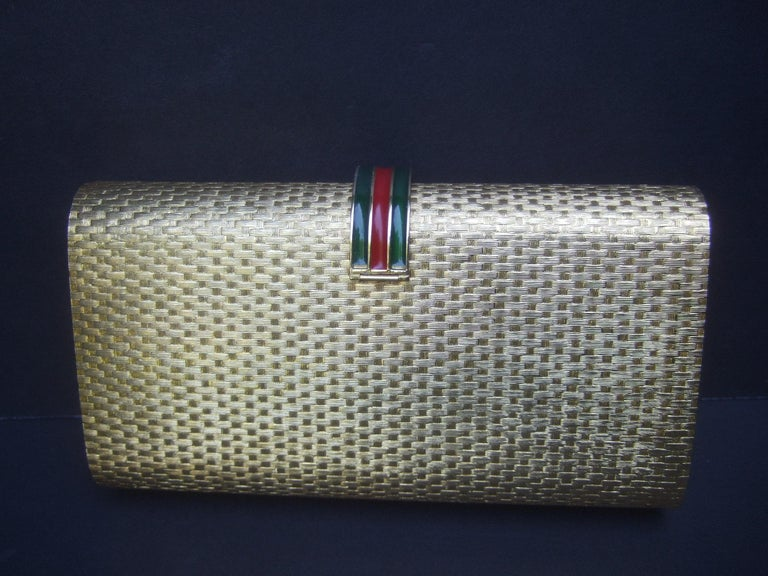 Gucci Italy Rare Gilt Metal Minaudière Clutch Bag c 1970s For Sale 10