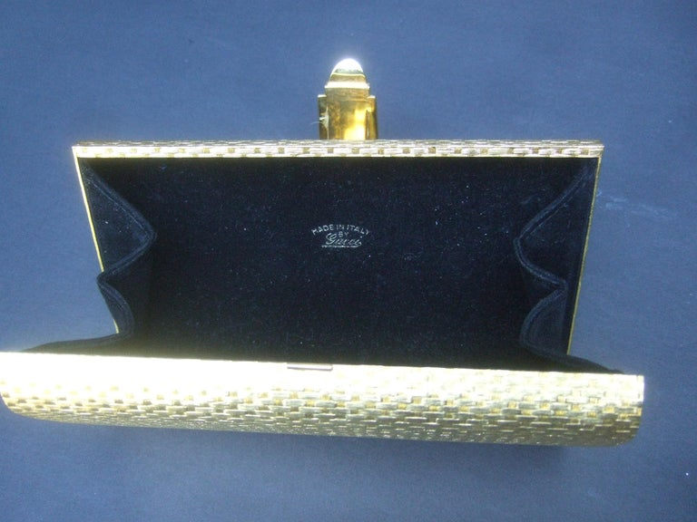 Gucci Italy Rare Gilt Metal Minaudière Clutch Bag c 1970s For Sale 12